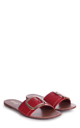 Rhodes Sliders with Buckle in Red Croc by Linzi