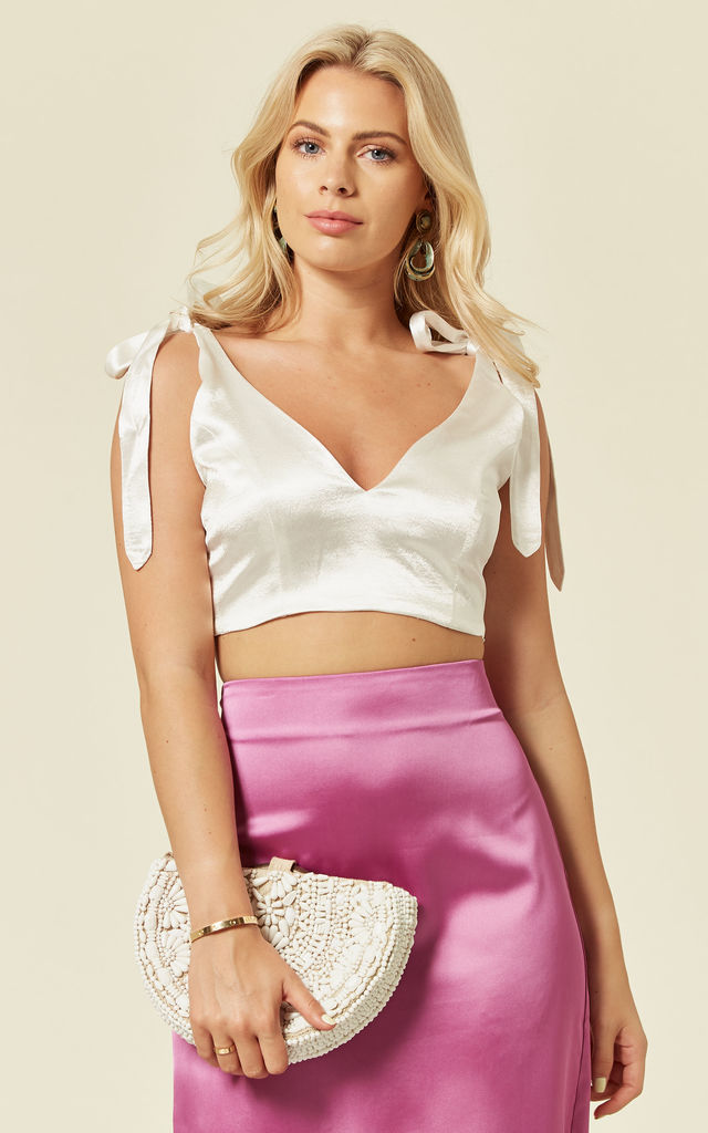 Tie on Bow Crop Top with V Neck in Off White by The Naked Laundry