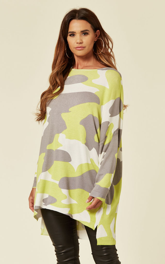Camouflage Print Long Sleeve Round Neck Jumper in Lime by Malissa J Collection