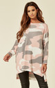 Camouflage Print Long Sleeve Round Neck Jumper by Malissa J Collection