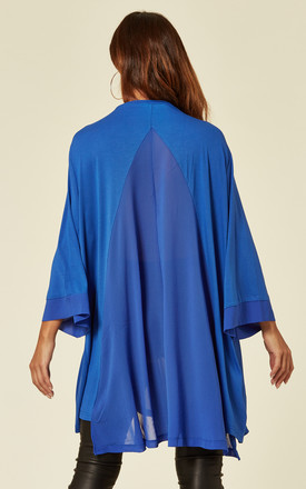 Chiffon Insert V-neck Jersey Swing Tunic in Blue by Malissa J Collection