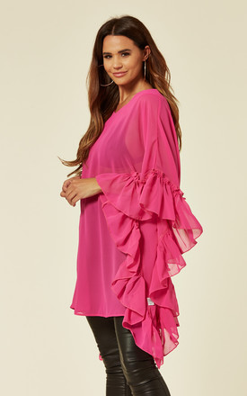 Frill Side Chiffon Top in Pink by Malissa J Collection