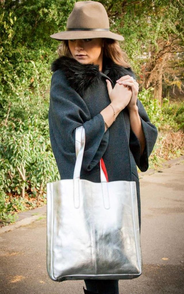 Sofia Metallic Leather Tote Bag in Silver/Burnt Red by hydestyle london