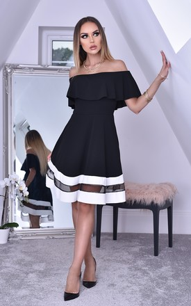 Hope Black Bardot Frill Contrast Flared Skater Dress by Missfiga Product photo