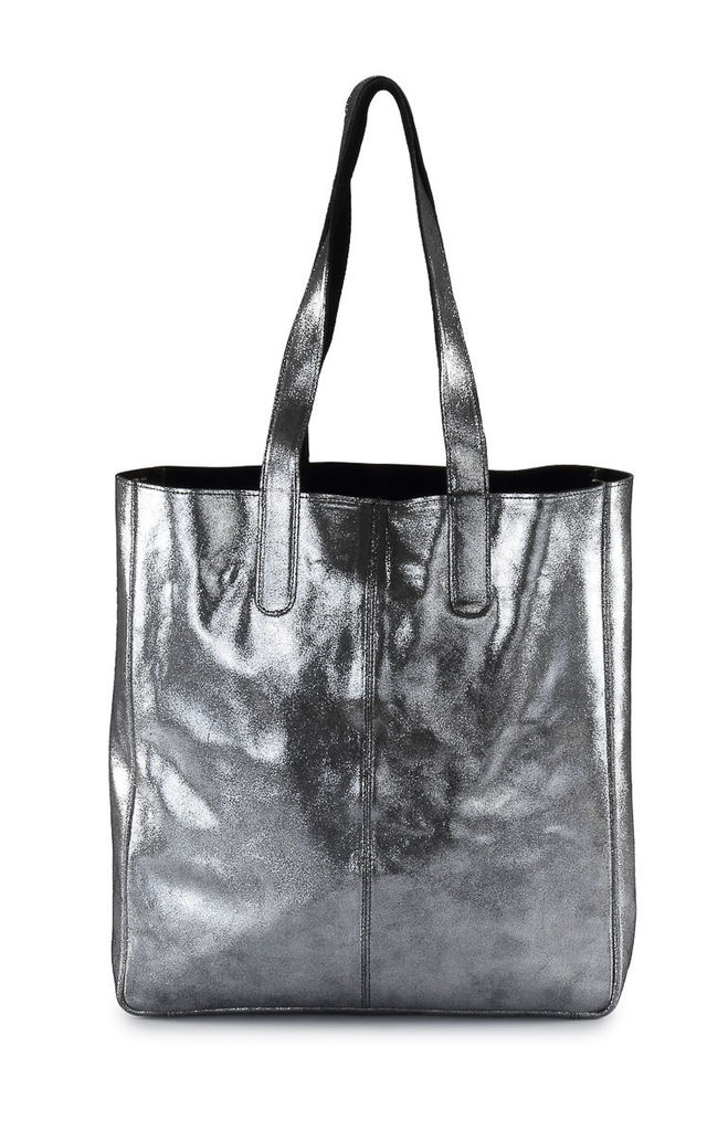 Metallic Sofia Leather Tote Bag Silver Black by hydestyle london