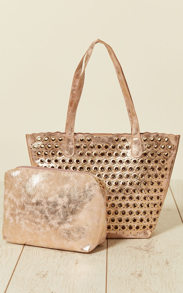 Eyelet Bag With Inner Bag in Peach by Malissa J Collection