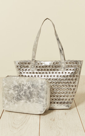 Eyelet Bag With Inner Bag in Silver by Malissa J Collection
