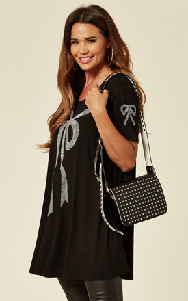 Studded Flap & Strap Cross Body Bag in Black by Malissa J Collection