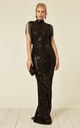 MAGIC VIP EMBELLISHED ILLUSION MAXI OCCASION DRESS WITH TASSELS and SEQUINS in BLACK by Nazz Collection