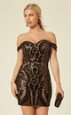 ALEXIYA BLACK NUDE BARDOT SWEETHEART SEQUIN EMBELLISHED ILLUSION MINI DRESS by Nazz Collection