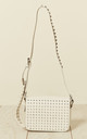 Studded Flap & Strap Cross Body Bag in White by Malissa J Collection