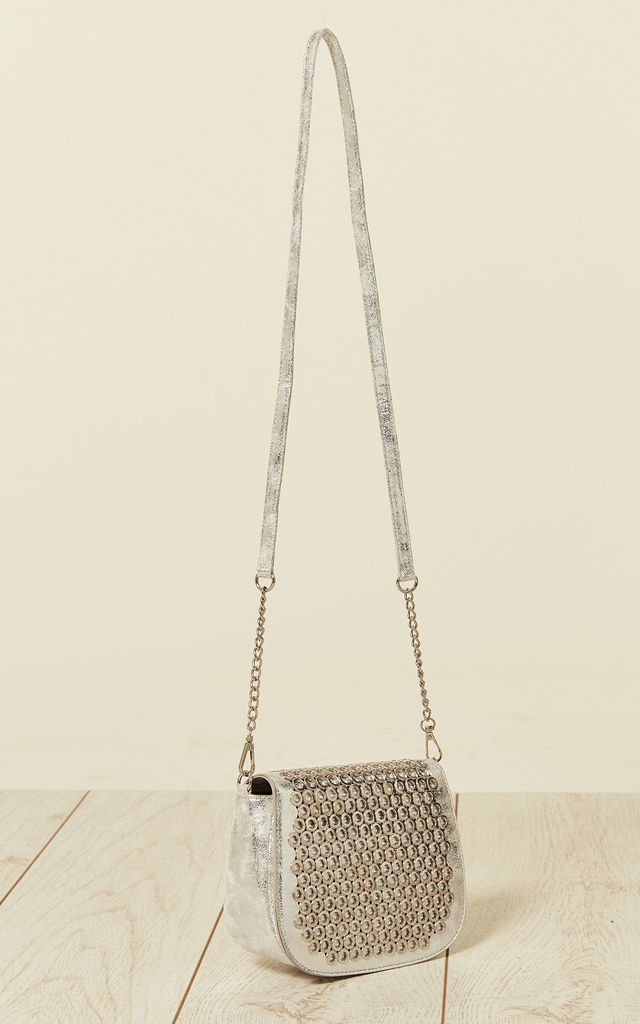 Eyelet Flap Cross Body Bag in Silver by Malissa J Collection