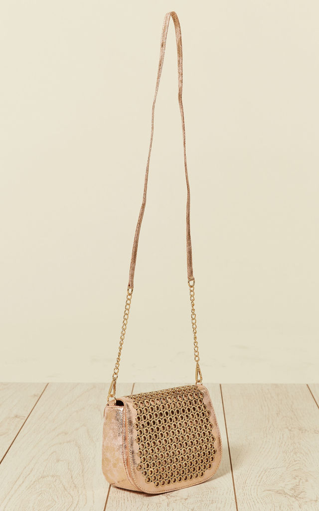 Eyelet Flap Cross Body Bag in Peach by Malissa J Collection
