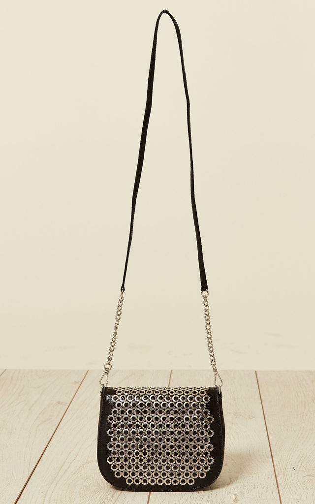 Eyelet Flap Cross Body Bag in Black by Malissa J Collection