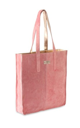 Metallic Sofia Leather Tote Bag Rose Gold by hydestyle london