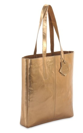 Sofia Metallic Leather Tote Bag in Dark Gold/Tan Brown by hydestyle london