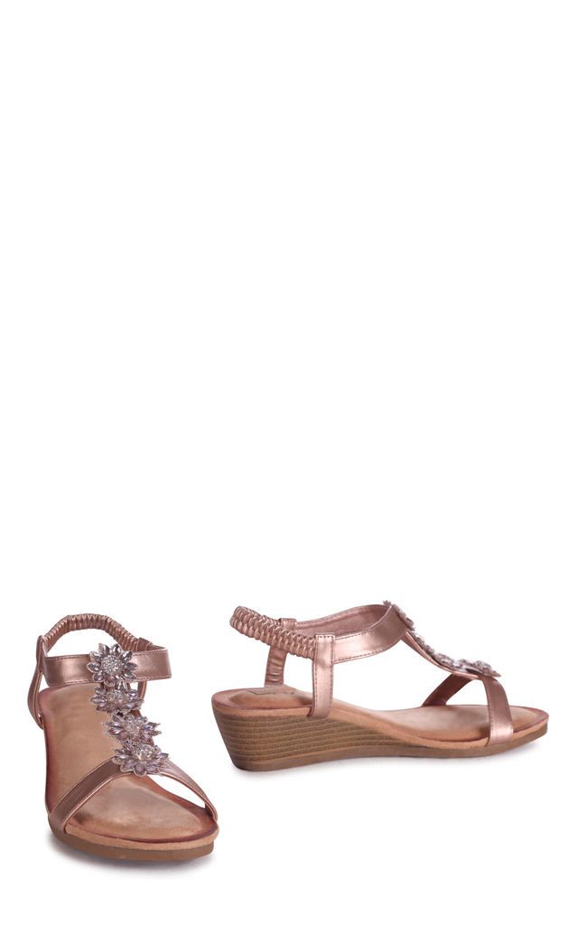 Flower Rose Gold Wedges Sandal With Floral Embellishment & Padded Footbed by Linzi