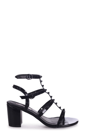 Tessa Black Block Heel Sandals with Black Studs by Linzi