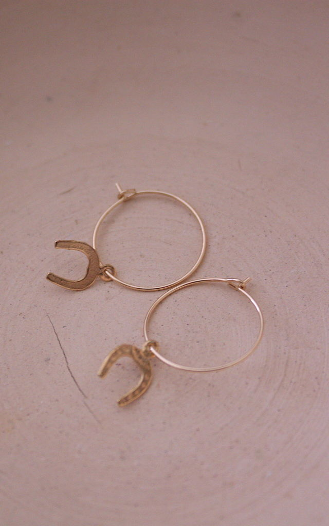 14k gold filled hoop earrings with horseshoe charms by STUDIO J