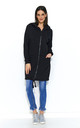 Long Zipped Hoodie with Front Pockets in Black by Makadamia
