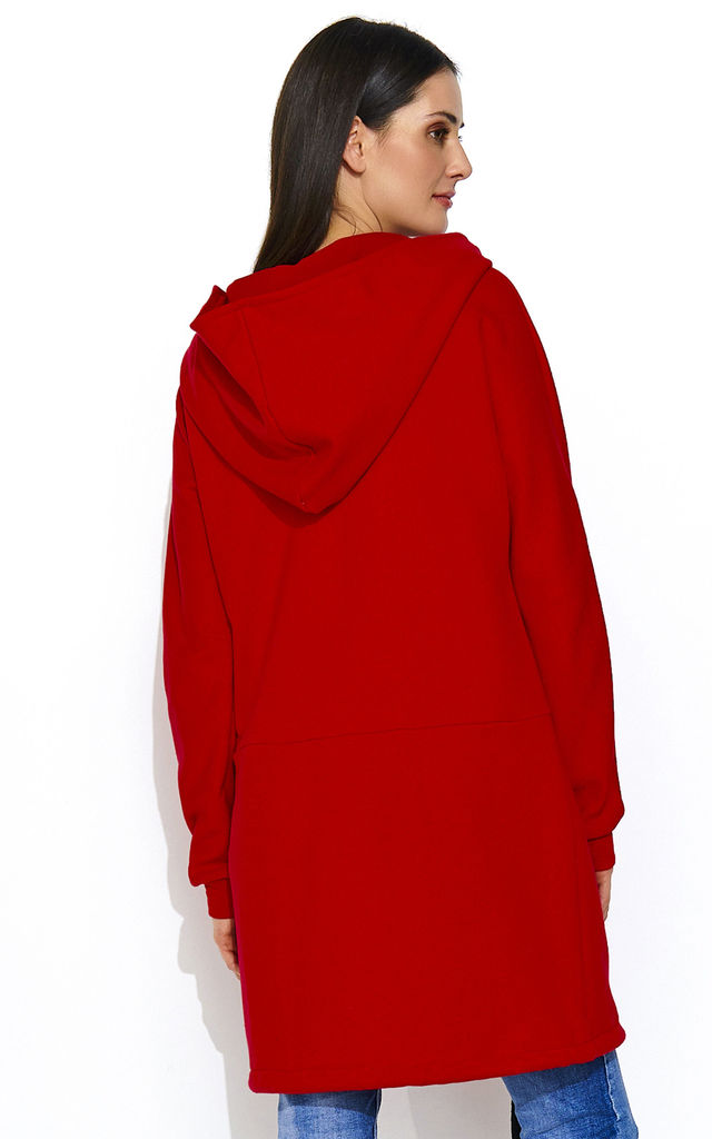 Long Zipped Hoodie with Front Pockets in Red by Makadamia