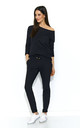 Long Sleeve Top and Trouser Knitted Co-ord Set in Black by Makadamia