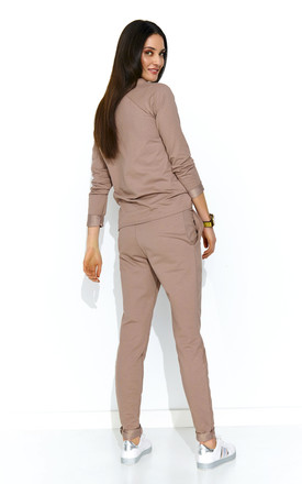Long Sleeve Top and Trouser Knitted Co-ord Set in Beige by Makadamia