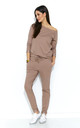 Beige Knit Co-Ord Set | Long Sleeve Top & Trousers by Makadamia
