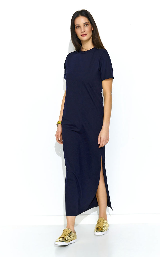 03b4db2a5a Maxi Dress With Slit And Short Sleeves In Navy Blue | Makadamia ...