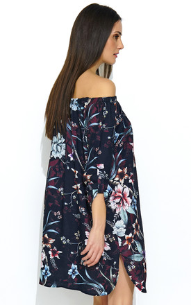 Oversized Off Shoulder Mini Dress in Navy Floral Print by Makadamia