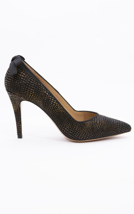 Black and Gold Textured Leather Stiletto with a Gros Grain Bow detail by House of Spring