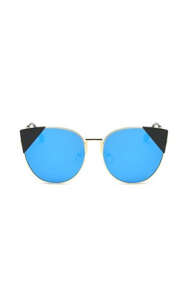 Stephanie Cat Eye Mirror Blue Sunglasses by Don't Be Shady