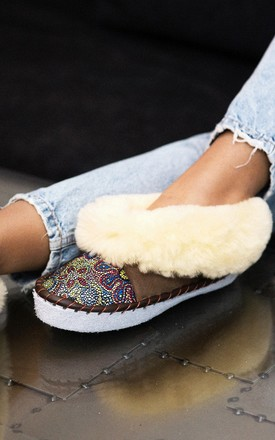 Sheepskin Slippers in Cream/Mosaic Print by Sheepers