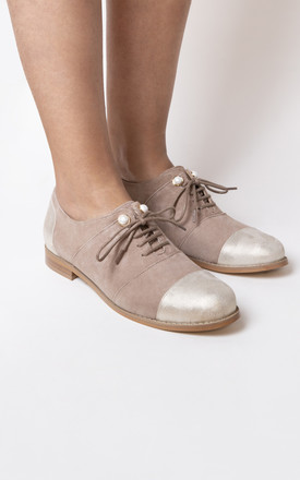 Nude Leather Brogues Lace Up by House of Spring