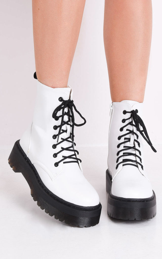 Lace up platform combat ankle boots white by LILY LULU FASHION