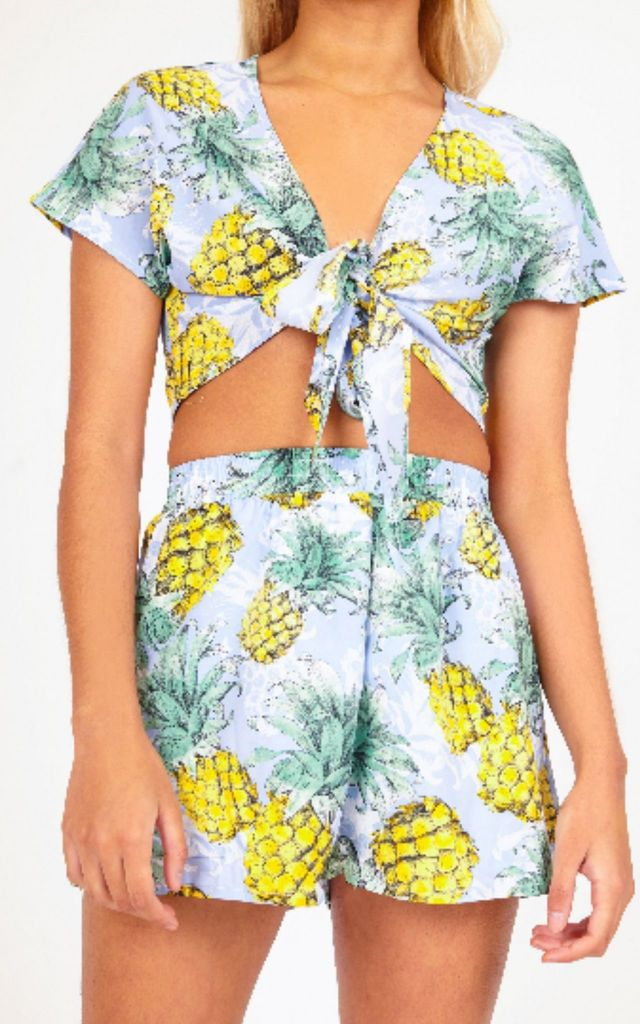 Blue Pineapple Print High Waisted Short by Hachu