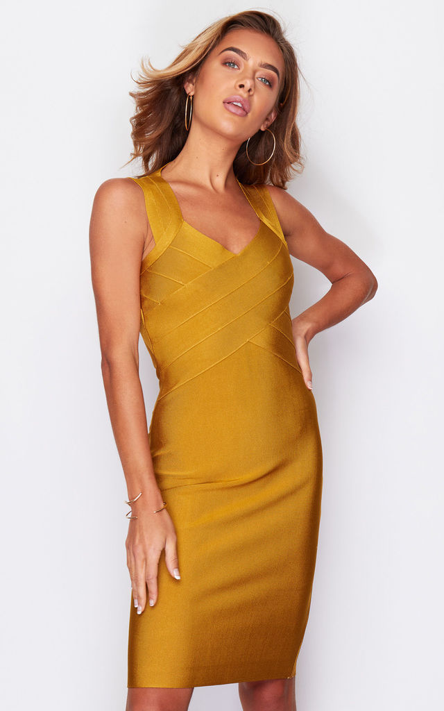 Shani Cross Detail Bandage Midi Dress Mustard by Girl In Mind