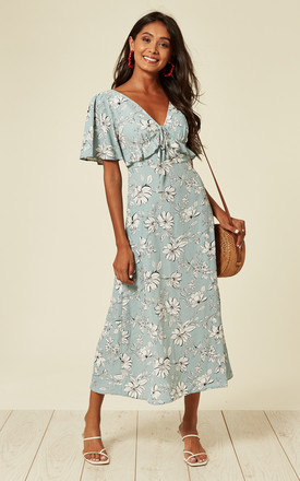 V Neck Maxi Dress With Frill Detail In Sky Blue And White Floral Print by D.Anna Product photo
