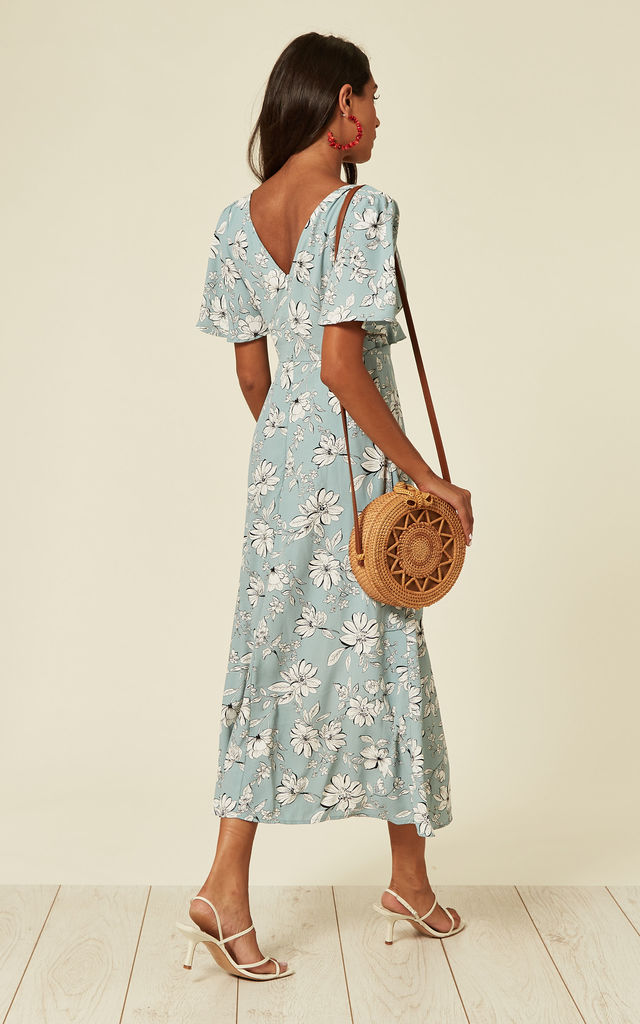 V-neck maxi dress with frill detail in floral print by D.Anna