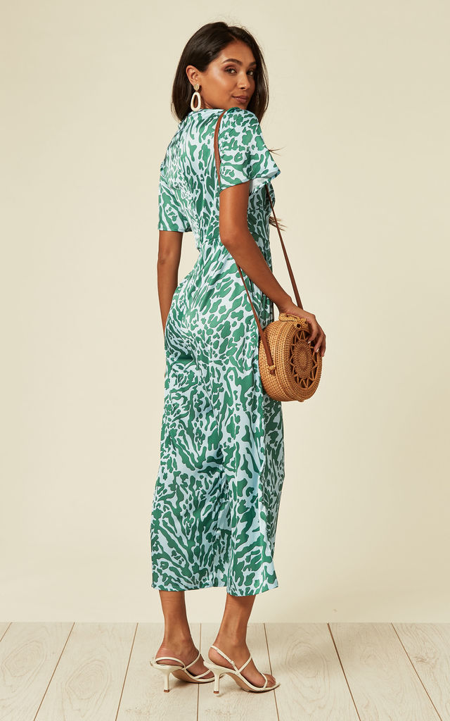 Satin Short Sleeve Jumpsuit in Blue and Green Animal Print by D.Anna