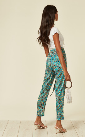 Satin leopard print pencil trousers with pockets in green by D.Anna