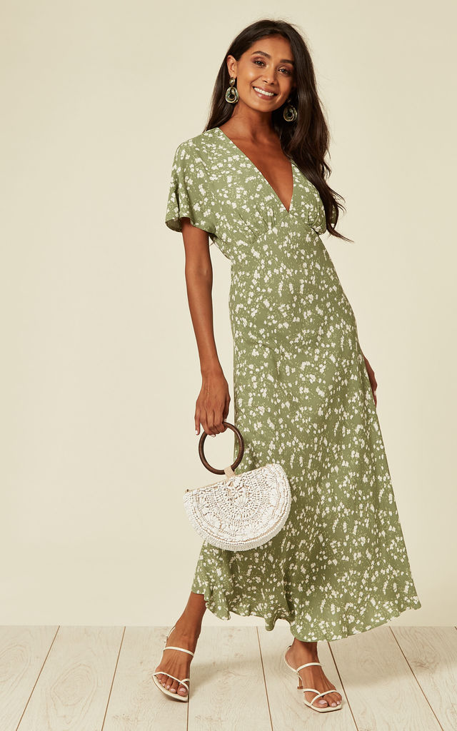 Short sleeve midi dress in sage green ditsy floral by Another Look