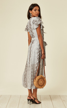 Button front midi dress in grey snake print by Another Look