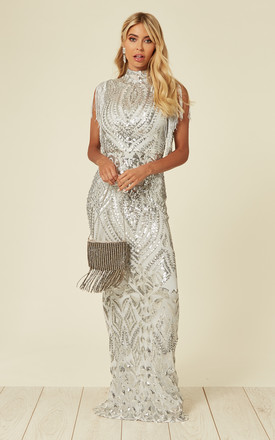 18f3d9a4 Magic Vip Embellished Illusion Maxi Occasion Dress With Tassels And Sequins  In Silver