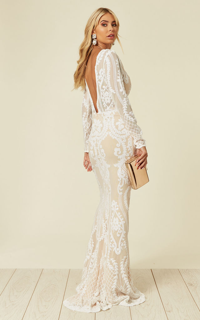 ANNABELLA FLORAL MESH PLUNGE SEQUIN MAXI FISHTAIL DRESS with V BACK in WHITE/NUDE by Nazz Collection