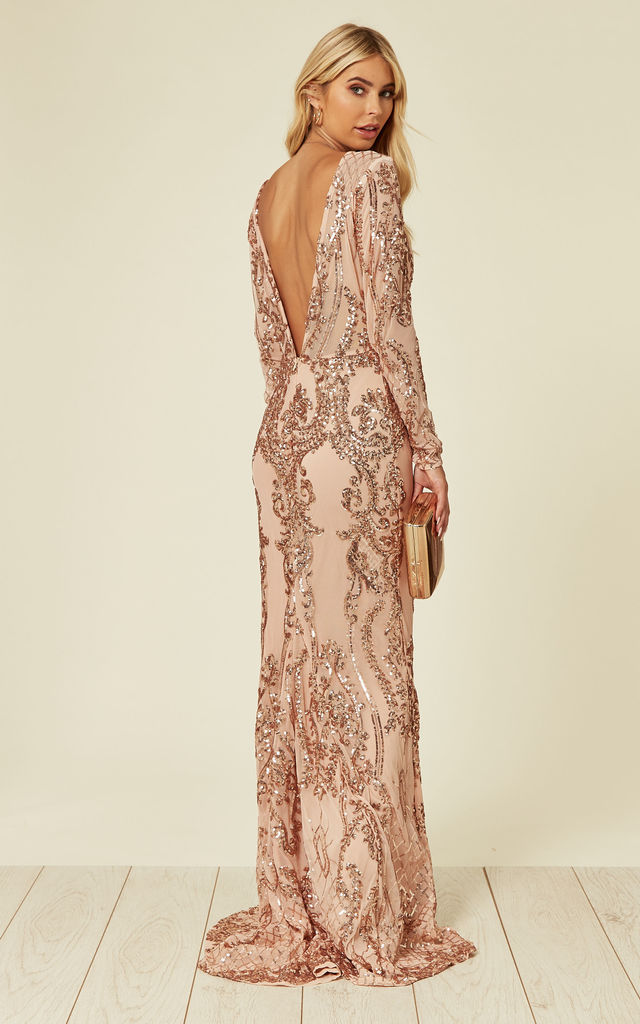 ANNABELLA FLORAL MESH PLUNGE SEQUIN MAXI FISHTAIL DRESS with V BACK in ROSE GOLD by Nazz Collection