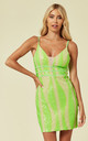 LIMELIGHT NEON GREEN PLUNGE CAGE SEQUIN BANDAGE ILLUSION MINI DRESS by Nazz Collection