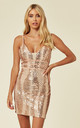 LIMELIGHT ROSE GOLD NUDE PLUNGE CAGE SEQUIN BANDAGE ILLUSION MINI DRESS by Nazz Collection