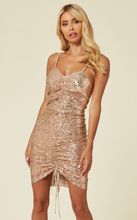 GOLDEN NIGHTS ROSE GOLD STRAPPY RUCHED PLUNGE SEQUIN 2IN1 MIDI & MINI DRESS by Nazz Collection