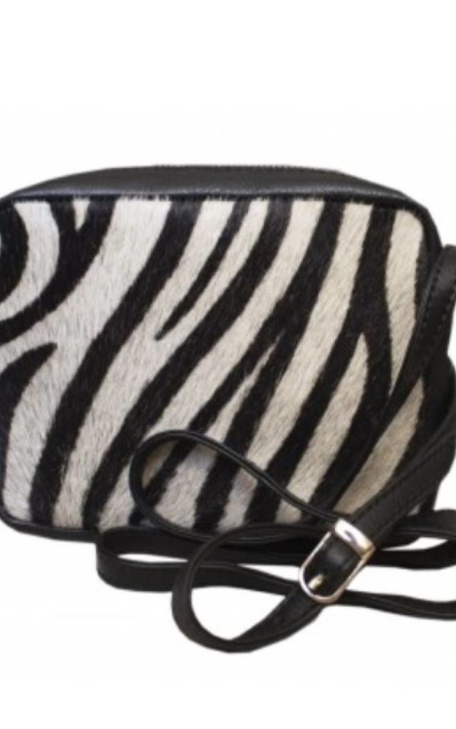 Leather Pony Hair Box Bag in Zebra Print by hydestyle london